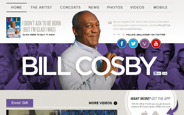 purple bill cosby website layout