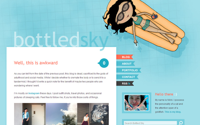 bottled sky blue wordpress layout design