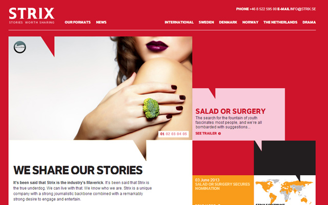 red webstie layout strix production company