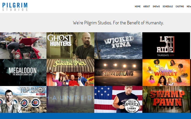 pilgrim studios website layout production