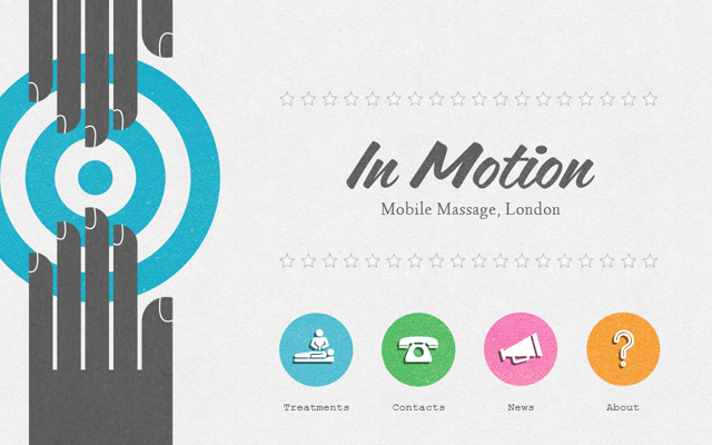 in motion mobile massage website layout on wordpress