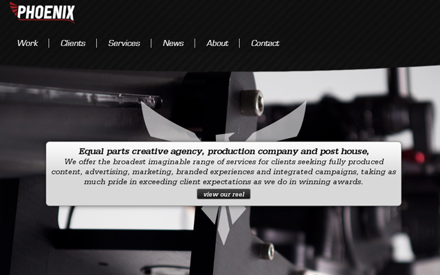 pheonix production company website layout