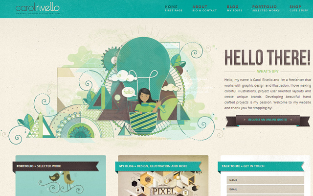 carol rivello design portfolio green layout wordpress