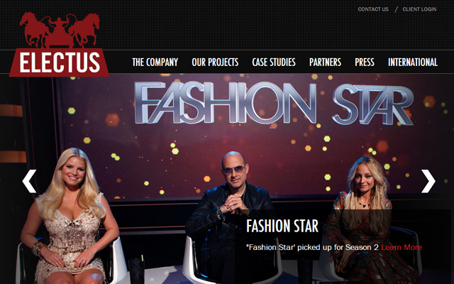 electus production company website layout