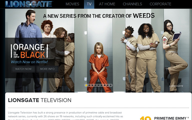 lionsgate production company website layout