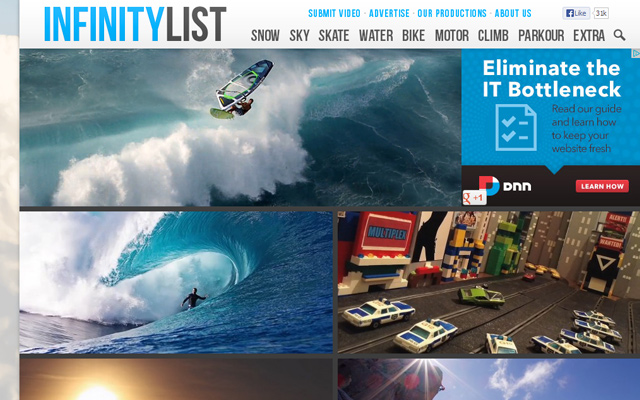 infinity list website custom wordpress layout