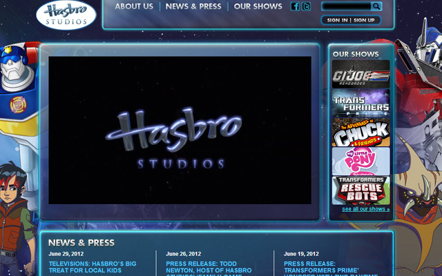 hasbro cartoon animation studios production company website