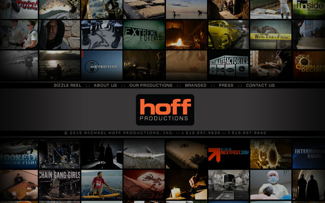hoff productions company website layout design