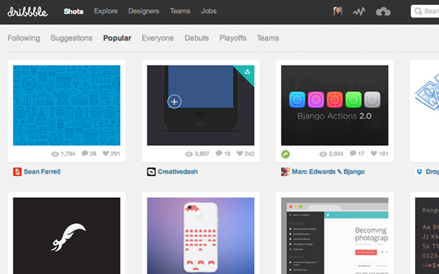dribbble textured popular shots layout design