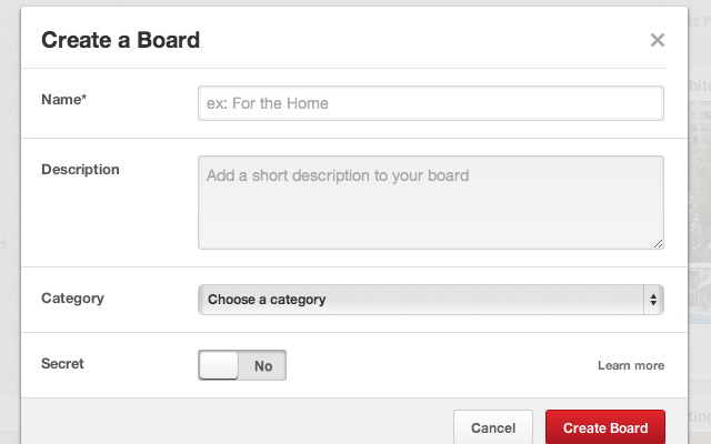 pinterest create a new board form ui design screenshot