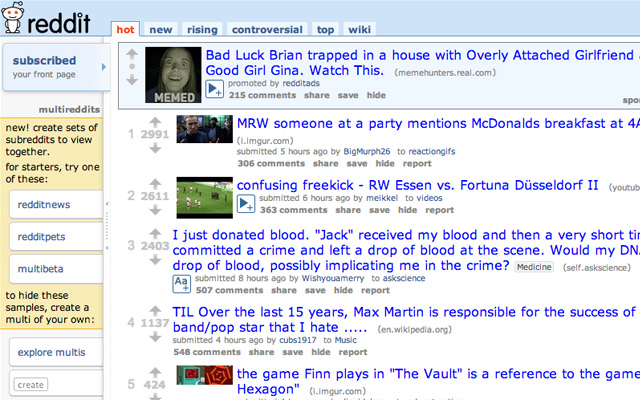 reddit social news community simple design homepage layout