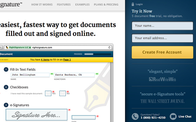 rightsignature homepage layout css3 design screenshot