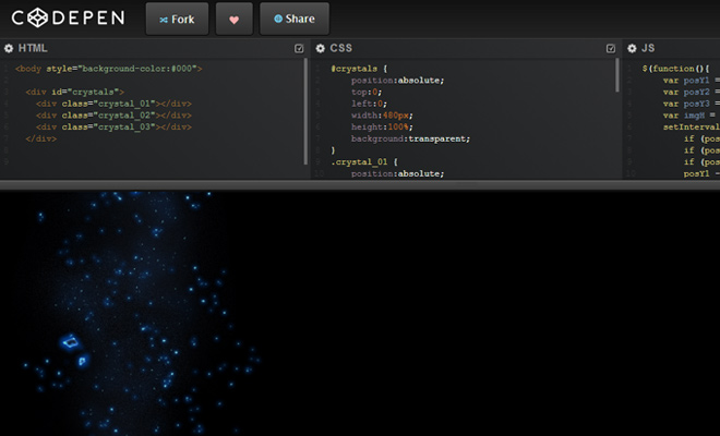 codepen dark ui homepage coding ide cloud webapp