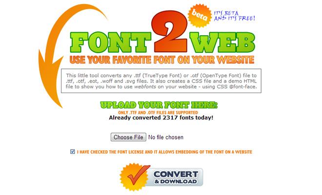 convert online fonts ttf otf webfont webapp