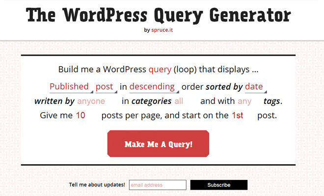 sql database query generator code php wordpress