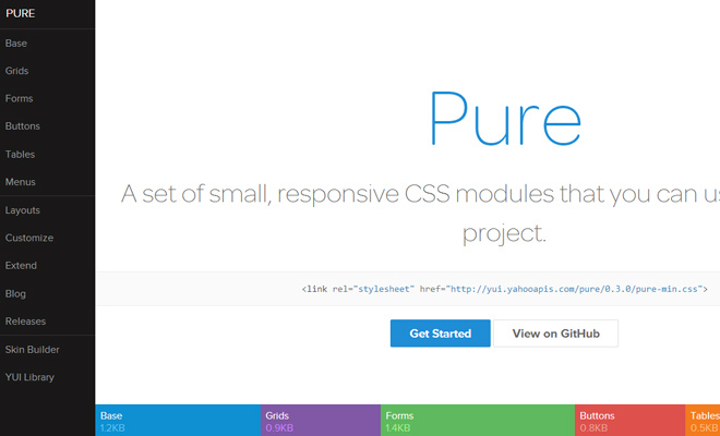 pure css homepage open source webapp layout colorful