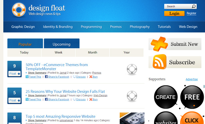 design float social news digg webapp homepage