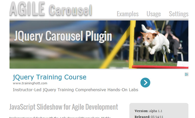 free open source agile carousel screenshot
