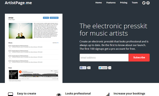 artist page me startup webpage layout