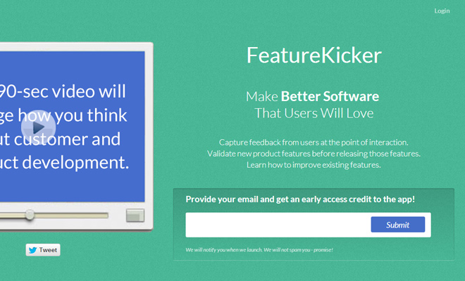 feature kicker website green layout startup