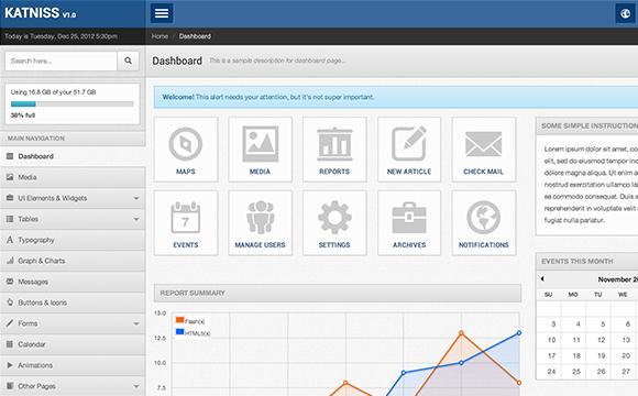 31 admin backend dashboard templates designm katniss premium admin template pronofoot35fo Gallery