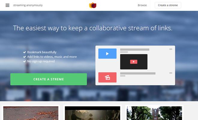 links aggregator streme homepage startup signup