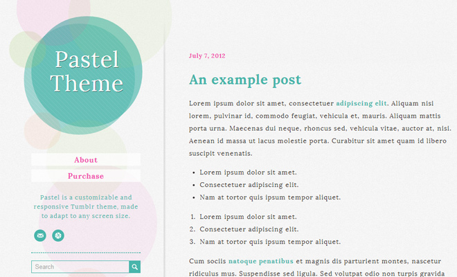 premium pastel colorful tumblr theme design