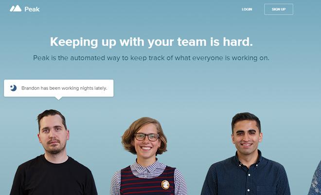 peak app startup homepage layout webapp inspiring