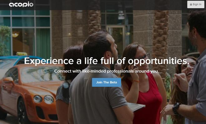 acopio homepage startup layou website