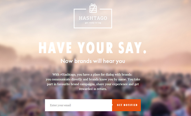 hashtago website fullscreen background image design layout