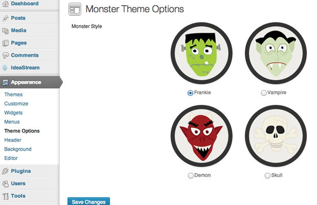monster theme open source wordpress custom settings api