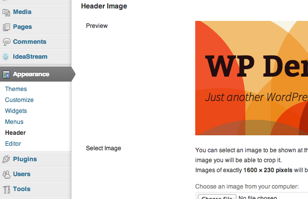 wordpress header custom settings wpadmin screenshot