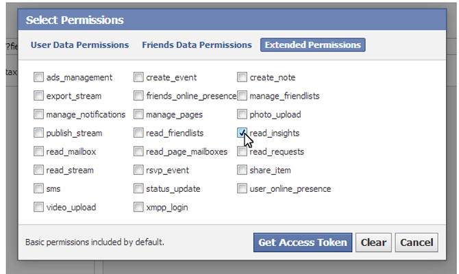 facebooks graph api explorer to grab insights data