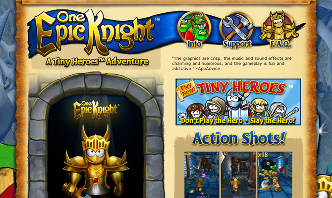 one epic knight game mobile smartphone website layout