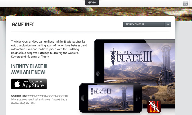 infinity blade mobile ios app game website