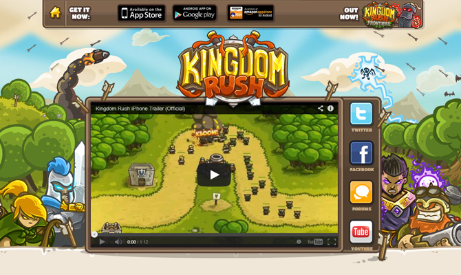 mobile iphone website layout inspiration homepage kingdomrush