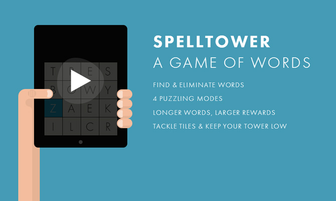 spell tower spelling ios ipad game mobile website layout