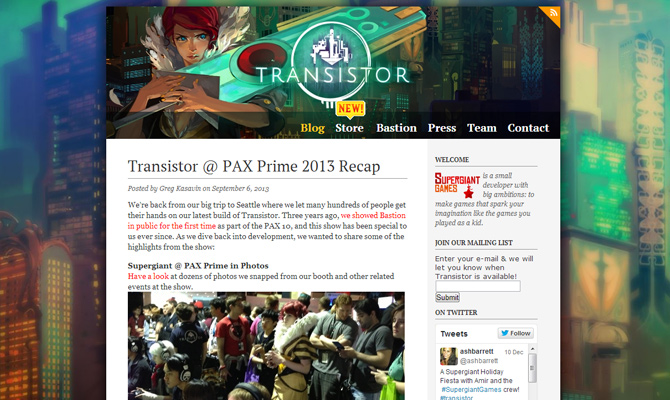 transistor mobile game app website layout bright