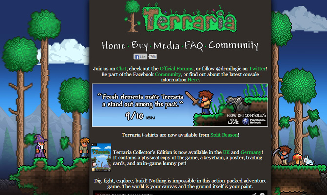 terraria trees rpg video game mobile website layout