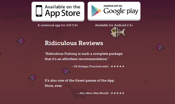 ridiculous fishing mobile app video game website