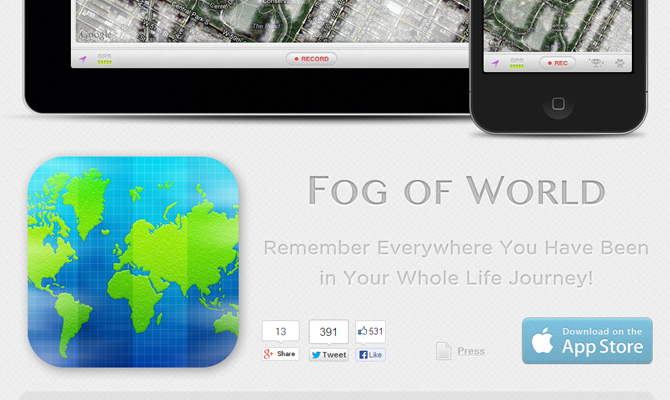 fog of world website app mobile layout iphone ipad ios