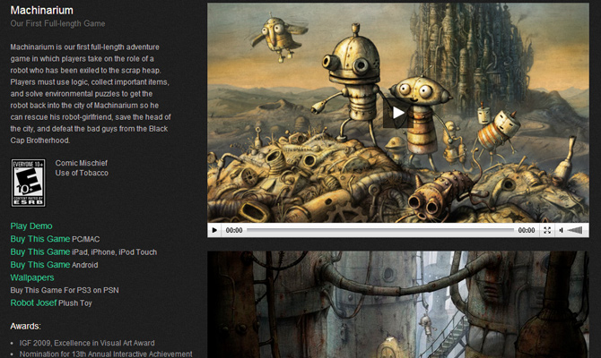 machinarium amanita games mobile website layout