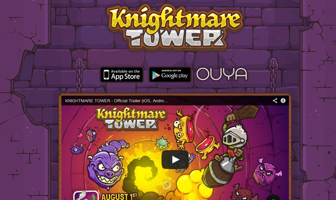 knightmare tower ios iphone mobile smartphone game website layout purple graphics