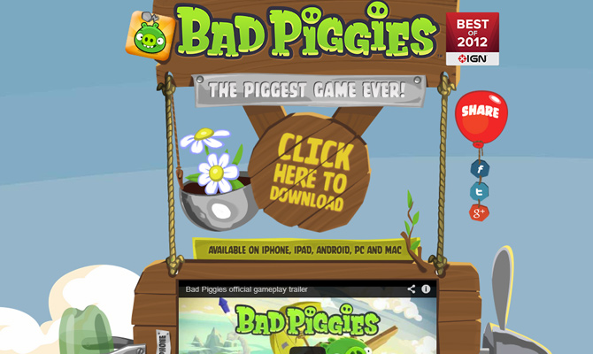 bad piggies mobile game website layout design