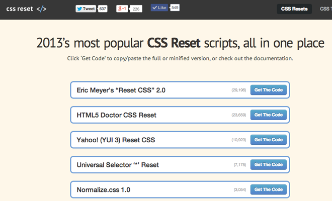 css resets library open source webpage webapp 2013