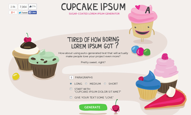 cupcake ipsum freebie generator website