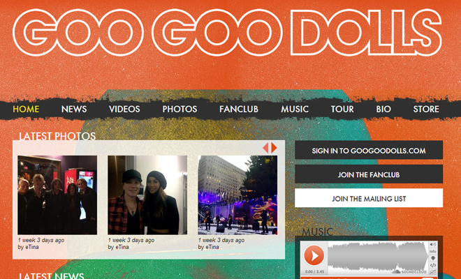 goo goo dolls band website layout