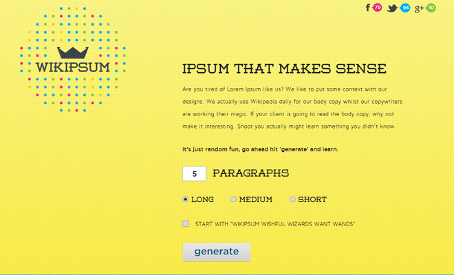 wiki ipsum yellow flashy website design