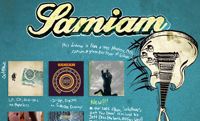 samiam band website homepage layout
