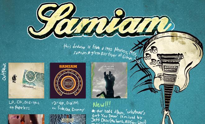 samiam band website homepage layout